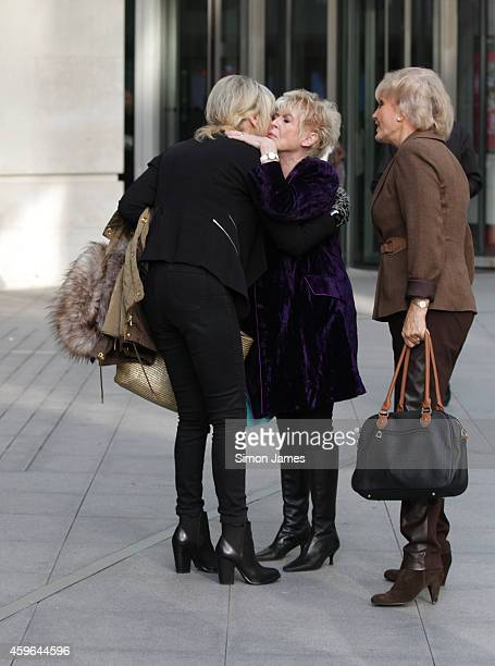 Julia Somerville, Gloria Hunniford and Angela Rippon sighting at the BBC on November 27, 2014 in London, England.
