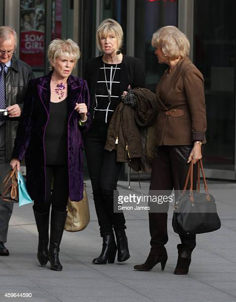 Julia Sommerville, Angela Rippon and Gloria Hunniford sighting at the BBC on November 27, 2014 in London, England.