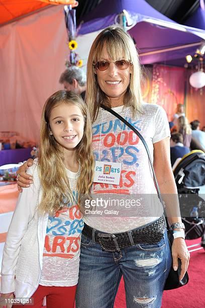 Julia Sorkin and daughter Roxy attend P.S. Arts Express Yourself 2009 at Barker Hangar at the Santa Monica Airport on November 15, 2009 in Santa...