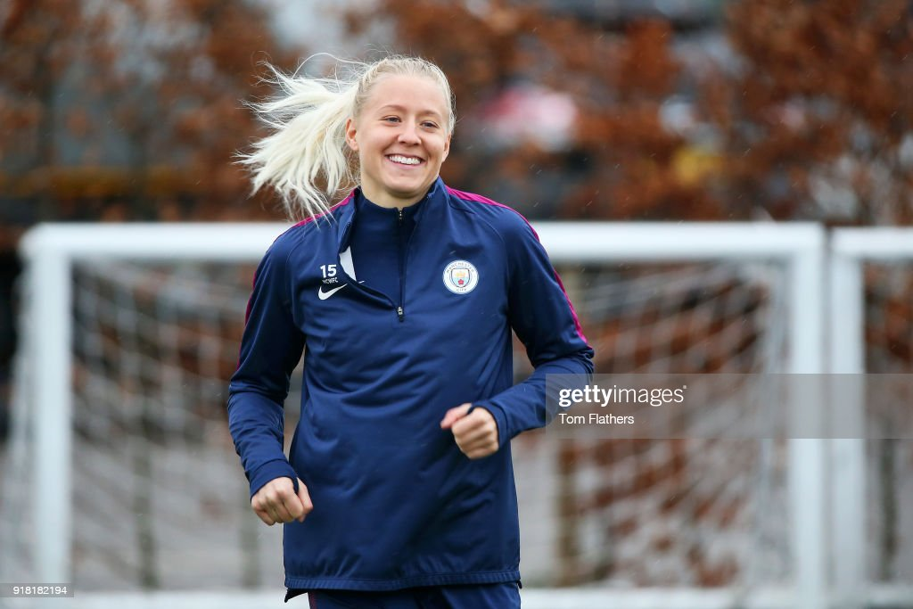 Julia Spetsmark during training at Manchester City Football Academy on February 14, 2018 in Manchester, England.