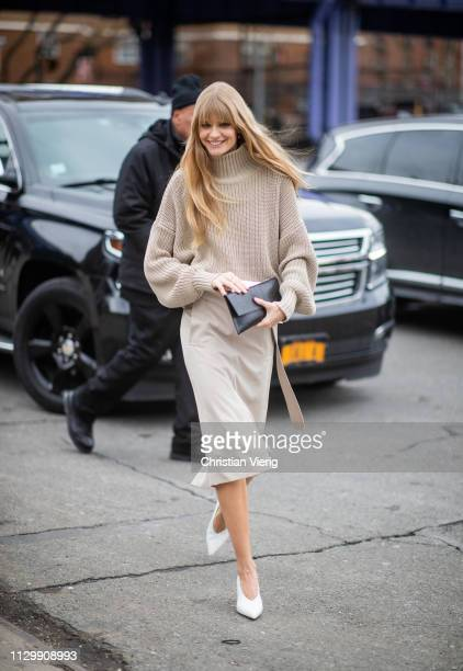 Julia Stegner is seen outside Boss during New York Fashion Week Autumn Winter 2019 on February 13 2019 in New York City
