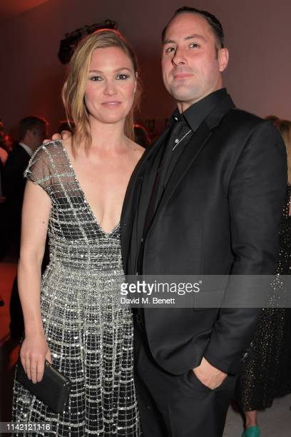 Julia Stiles and Preston J Cook attend the Premiere Screening for the new season of Sky Original Riviera at The Saatchi Gallery on May 7 2019 in...