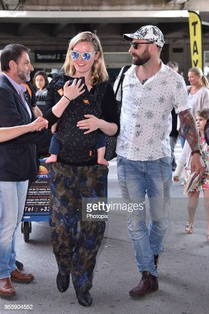Julia Stiles and Preston JCook are seen arriving at Nice Airport during the 71st annual Cannes Film Festival at Nice Airport on May 8 2018 in Nice...