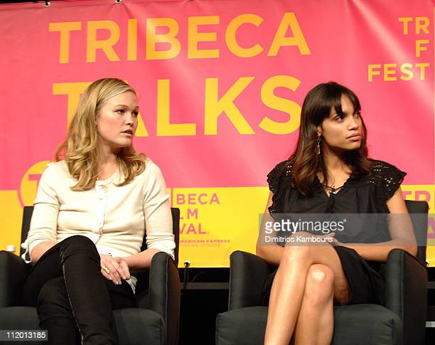 Julia Stiles and Rosario Dawson during Bringing Home the Bacon Press Conference at Tribeca Performing Arts Center in New York City New York United...