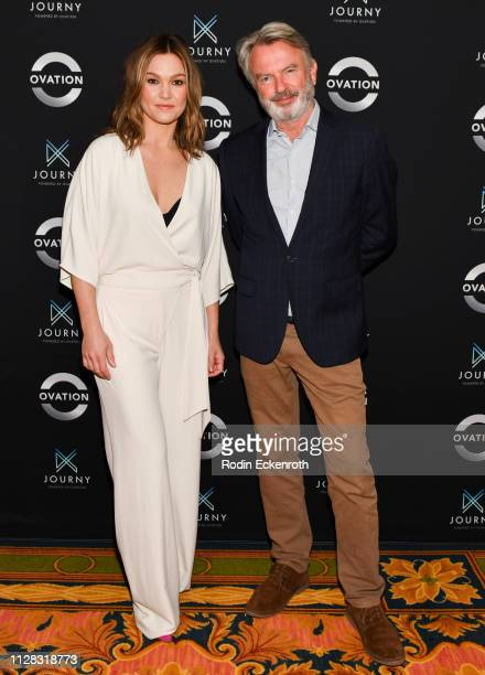 Julia Stiles and Sam Neill attend the Photo Call for Ovation at 2019 Winter TCA at The Langham Huntington, Pasadena on February 08, 2019 in Pasadena,...