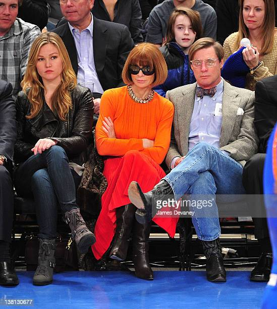 Julia Stiles Anna Wintour and Shelby Bryan attend the Chicago Bulls VS New York Knicks at Madison Square Garden on February 2 2012 in New York City