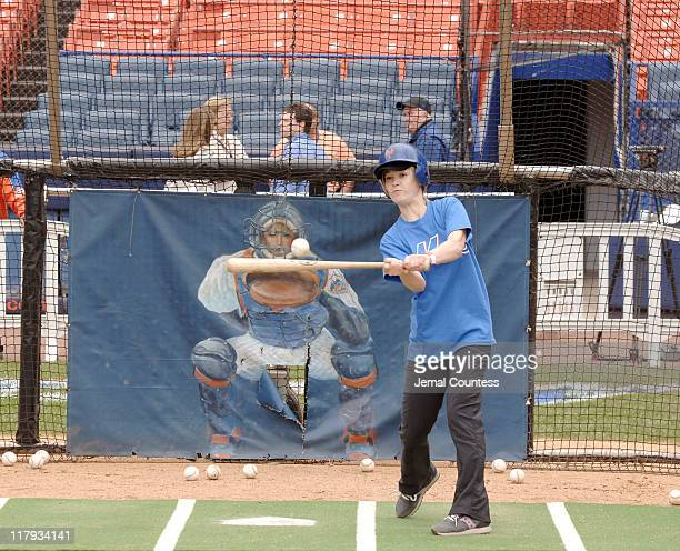 Julia Stiles at bat during batting practice at the 3rd Annual Project ALS and New York Mets Fundraiser