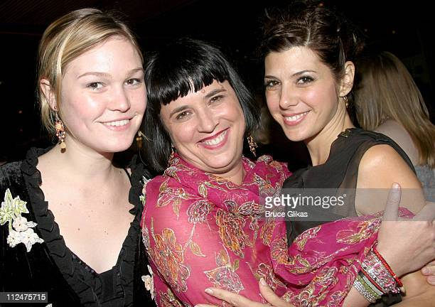 Julia Stiles Eve Ensler and Marisa Tomei during Eve Ensler's The Good Body Opening Night After Party at Gustavinos in New York City New York United...