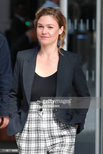 Julia Stiles leaving The Chris Evans Breakfast Show on Virgin Radio with Sky on May 10 2019 in London England