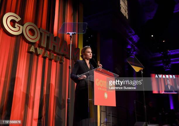 Julia Stiles speaks onstage during the IFP's 29th Annual Gotham Independent Film Awards at Cipriani Wall Street on December 02, 2019 in New York City.