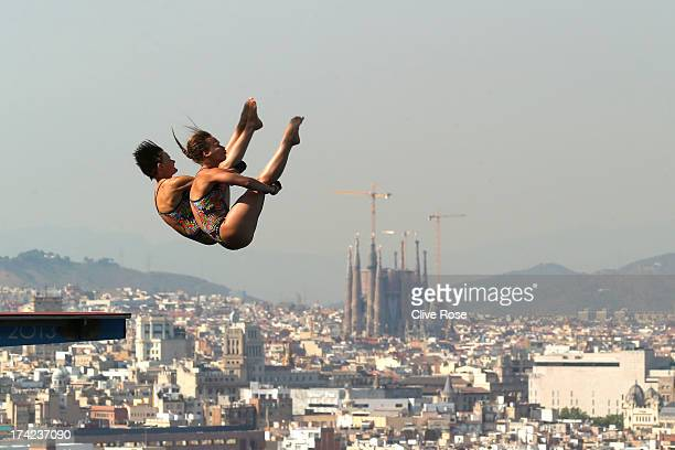 Julia Stolle and Maria Kurjo of Germany compete in the Women's 10m Platform Synchronised Diving final on day three of the 15th FINA World...