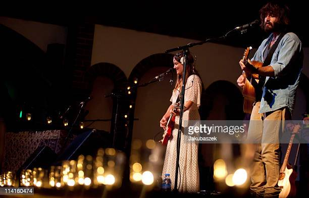 Julia Stone and Angus Stone of the Australian brother and sister act Angus and Julia Stone perform live during a concert at the Passionskirche on May...