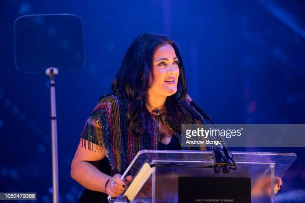 Julia Sutherland presents and award at the Audio and Radio Industry Awards at First Direct Arena Leeds on October 18 2018 in Leeds England