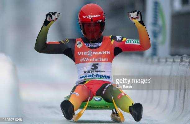 Julia Taubitz of Germany celebrates after the final run of the Luge World Championships Women Race at Veltins EisArena on January 26 2019 in...