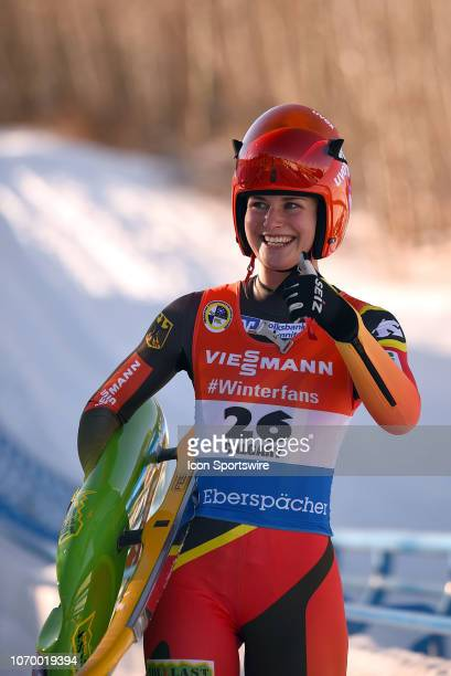 Julia Taubitz of Germany celebrates after winning the Viessmann Luge World Cup on December 8 at the Luge Track at Winsport's Canada Olympic Park in...