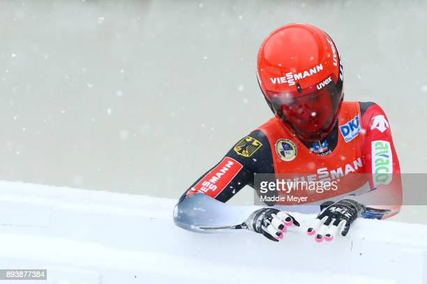Julia Taubitz of Germany climbs out of the track after crashing during her first run in the Women's competition of the Viessmann FIL Luge World Cup...