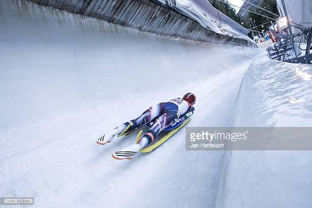 Julia Taubitz of Germany competes in the first heat of the Women's Luge competition during the second day of the FILWorld Championships at...