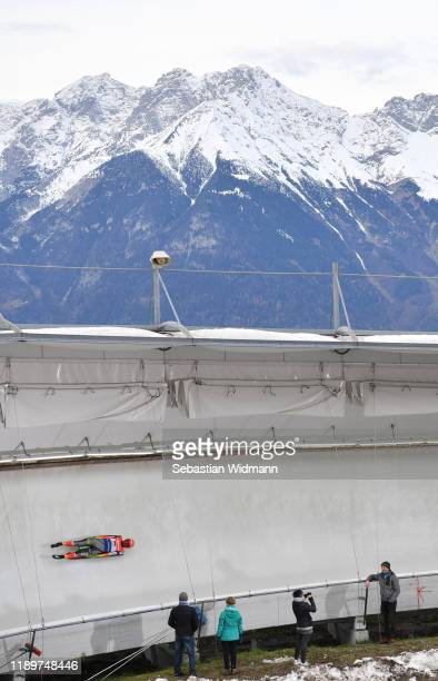 Julia Taubitz of Germany competes in the Relay competition during the FIL Luge World Cup at OlympiaRodelbahn on November 24 2019 in Innsbruck Austria