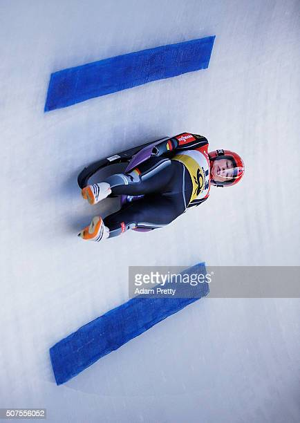 Julia Taubitz of Germany completes her first run of the Women's Luge competition at Deutsche Post Eisarena Koenigssee on January 30 2016 in...