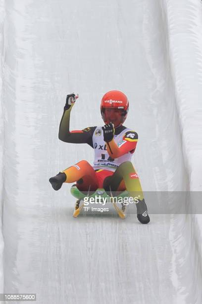 Julia Taubitz of Germany completes the sprint women's competition of the FIL World Cup at Veltins EisArena on January 25 2019 in Winterberg Germany