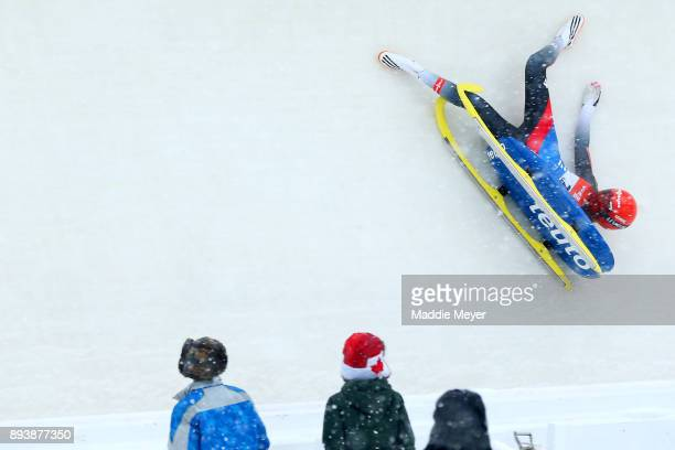 Julia Taubitz of Germany crashes during her first run in the Women's competition of the Viessmann FIL Luge World Cup at Lake Placid Olympic Center on...
