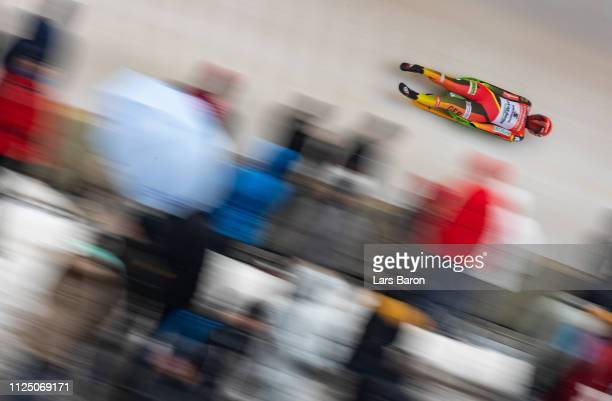 Julia Taubitz of Germany in action during the first run of the Luge World Championships Women Race at Veltins EisArena on January 26 2019 in...