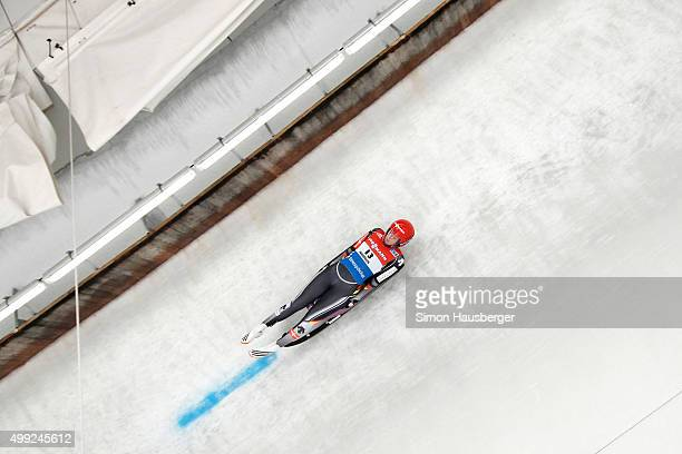Julia Taubitz of Germany in action during the Viessmann Luge World Cup at Olympiabobbahn Igls on November 28 2015 in Innsbruck Austria