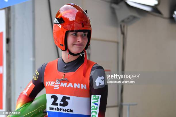 Julia Taubitz of Germany looks on after her second run of the Women's competition during the FIL Luge World Cup at OlympiaRodelbahn on November 23...