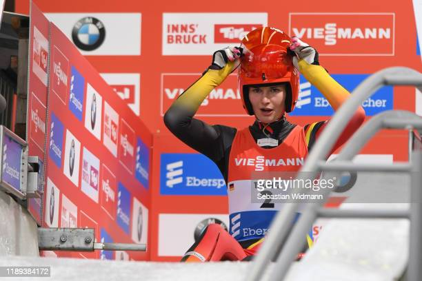 Julia Taubitz of Germany practices in the women's training session during training for the FIL Luge World Cup at OlympiaRodelbahn on November 22 2019...