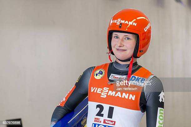 Julia Taubitz of Germany reacts after her second run of the Women's Luge competition during the second day of the FILWorld Championships at...