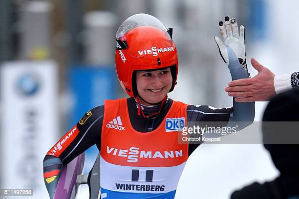 Julia Taubitz of Germany reacts after the women second heat during the Viessmann Luge World Cup Day 1 at Veltins EisArena on February 20 2016 in...