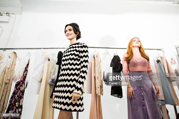 Julia Telles and Bella Thorne backstage at the Jill Stuart SS16 show part of New York Fashion week at Industria Studios on September 12 2015 in New...