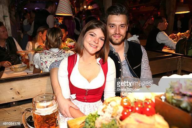 Julia Tewaag and her husband Tobias Frank during the Oktoberfest 2015 at Kaeferschaenke at Theresienwiese on Oktober 02 2015 in Munich Germany