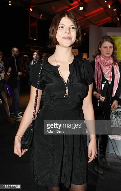 Julia Tewaag arrives at the Alexandra Kiesel Autumn/Winter 2012 fashion show during MercedesBenz Fashion Week Berlin at Brandenburg Gate on January...