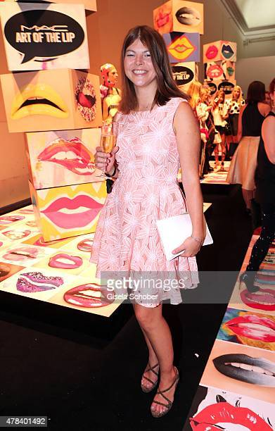Julia Tewaag daughter of Uschi Glas during the presentation of 'Art of the Lip' by MAC Cosmetics at Haus der Kunst on June 24 2015 in Munich Germany