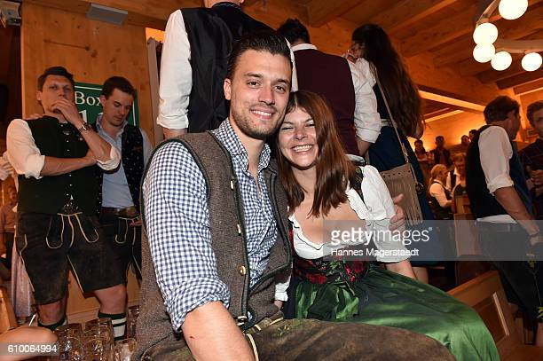 Julia Tewaag with her husband Tobias Frank in the Schuetzenzelt during the Oktoberfest at Theresienwiese on September 23 2016 in Munich Germany