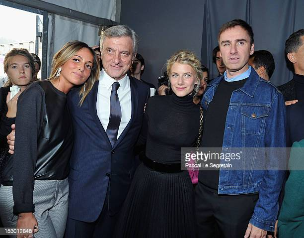 Julia Toledano Dior CEO Sidney Toledano Melanie Laurent and Christian Dior Creative Director Raf Simons attend the Christian Dior Spring / Summer...