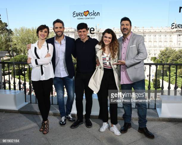 Julia Varela, Roberto Leal, Alfred, Amaia and Tony Aguilar Attend the last photocall before going to Eurovision on April 27, 2018 in Madrid, Spain.