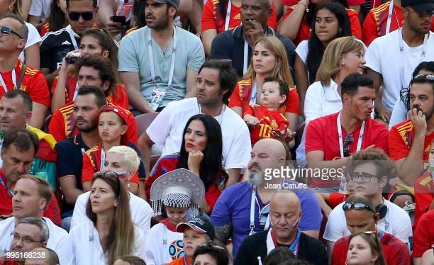 Julia Vigas wife of Thiago Alcantara of Spain below center Yolanda Ruiz wife of goalkeeper of Spain Pepe Reina during the 2018 FIFA World Cup Russia...