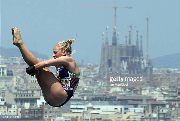 Julia Vincent of South Africa competes in the preliminary round of The Women's 1m Springboard at The Piscina Municipal De Montjuic on day two of the...