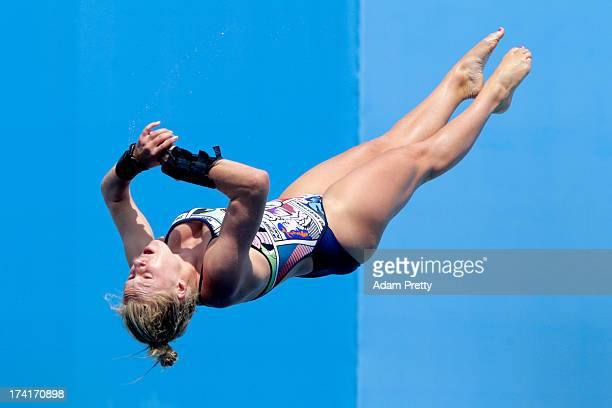 Julia Vincent of South Africa competes in the Women's 1m Springboard Diving preliminary round on day two of the 15th FINA World Championships at...