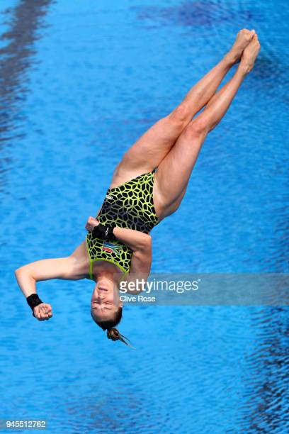 Julia Vincent of South Africa competes in the Women's 1m Springboard Diving Preliminary on day nine of the Gold Coast 2018 Commonwealth Games at...