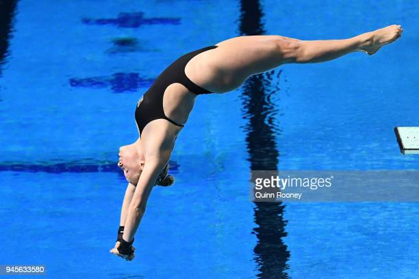 Julia Vincent of South Africa competes in the Women's 1m Springboard Diving Final on day nine of the Gold Coast 2018 Commonwealth Games at Optus...