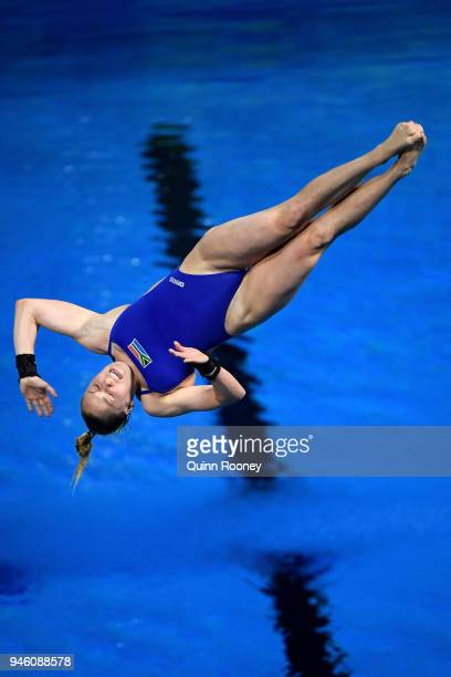 Julia Vincent of South Africa competes in the Women's 3m Springboard Diving Final on day 10 of the Gold Coast 2018 Commonwealth Games at Optus...