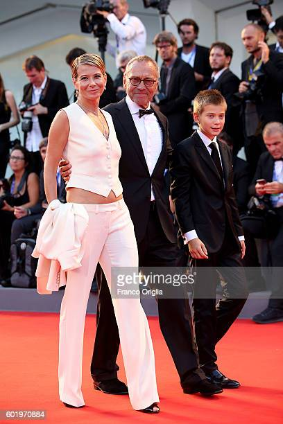 Julia Vysotskaya Andrei Konchalovsky and their son Peter attend the closing ceremony of the 73rd Venice Film Festival at Sala Grande on September 10...