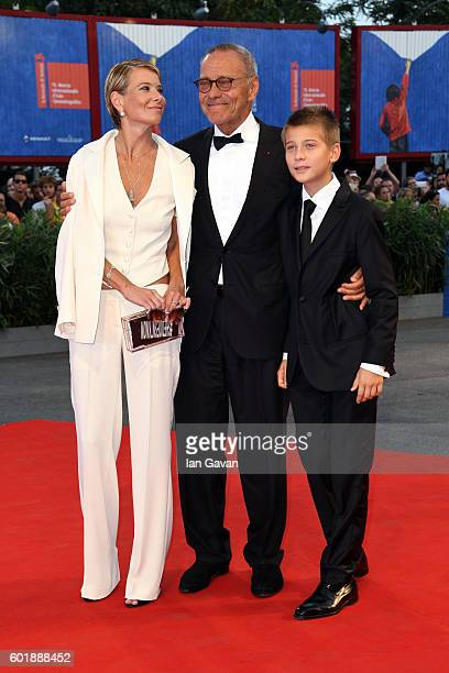 Julia Vysotskayam Andrei Konchalovsky and their son Peter attend the closing ceremony of the 73rd Venice Film Festival at Sala Grande on September 10...