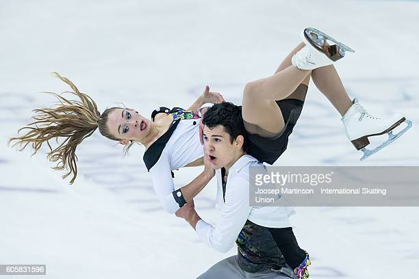 Julia Wagret and Mathieu Couyras of France compete during the Junior Ice Dance Free Dance on day one of the ISU Junior Grand Prix of Figure Skating...
