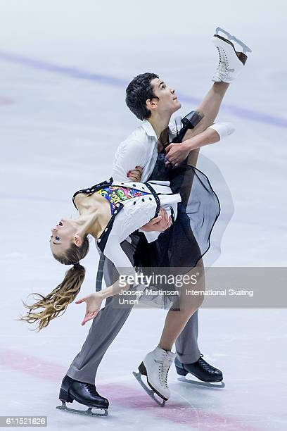 Julia Wagret and Mathieu Couyras of France compete during the Junior Ice Dance Short Dance on day two of the ISU Junior Grand Prix of Figure Skating...