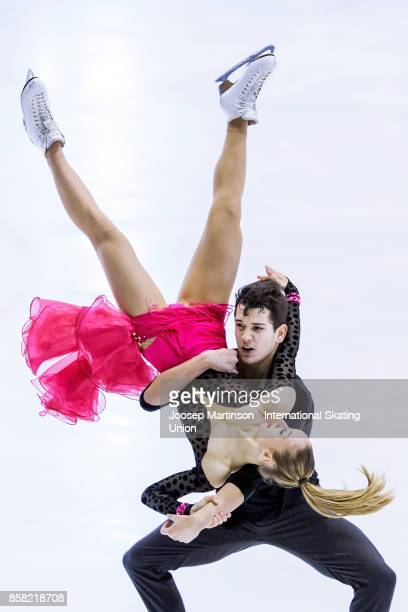 Julia Wagret and Mathieu Couyras of France compete in the Ice Dance Short Dance during day two of the ISU Junior Grand Prix of Figure Skating at...