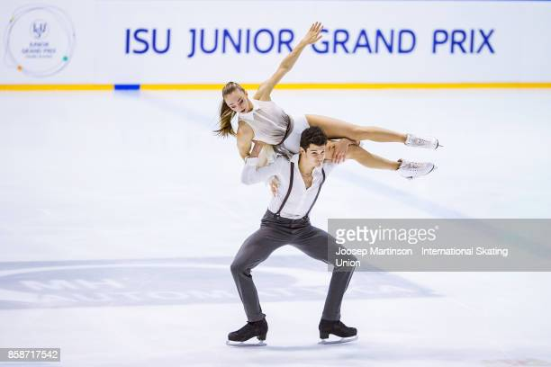 Julia Wagret and Mathieu Couyras of France compete in the Ice Dance Free Dance during day three of the ISU Junior Grand Prix of Figure Skating at...